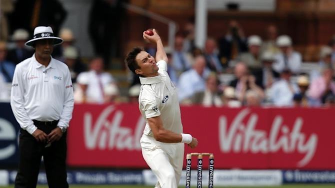 New Zealand's Trent Boult bowls against England on the second day of the first Test at Lord's on May 22, 2015