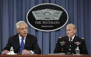 U.S. Secretary of Defense Hagel and Joint Chiefs of Staff Gen. Dempsey hold joint news conference at Pentagon in Washington