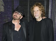 In this March 15, 2012 photo, composers Dave Stewart and Glen Ballard pose for a photo backstage after the initial performance of the Broadway musical &quot;Ghost&quot;, in New York. Ballard, a five-time Grammy Award-winning songwriter-producer who created &quot;Jagged Little Pill&quot; with Alanis Morissette and wrote &quot;Man In the Mirror&quot; for Michael Jackson, has teamed up with Dave Stewart, songwriter-producer of Eurythmics fame who has also written for Celine Dion and Shakira, to score the Broadway musical &quot;Ghost.&quot; (AP Photo/Charles Sykes)