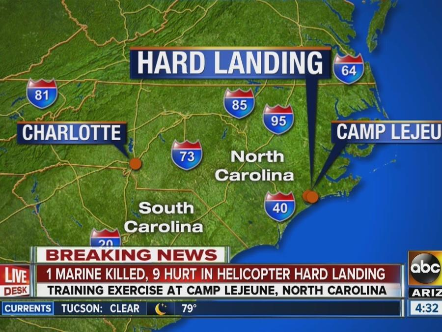 1 Marine killed, 11 hurt when helicopter makes hard landing