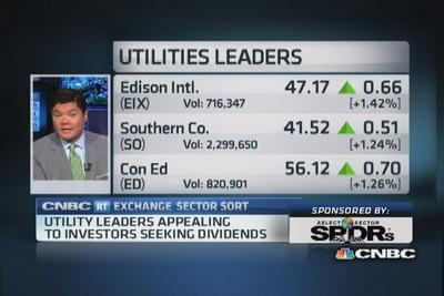 Utilities push higher