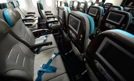 The interior of the new Boeing Dreamliner 787: The potentially game-changing aircraft uses less fuel than similarly sized competitors.