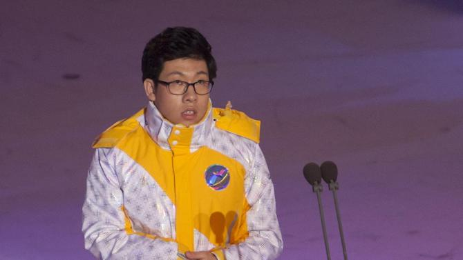Park Mo-se, of South Korea, a soloist with intellectual disabilities, sings the Korean national anthem during the opening ceremony of the Special Olympics World Winter Games in PyeongChang, South Korea on Tuesday, Jan. 29, 2013. (Manchul Kim/AP Images for Special Olympics)
