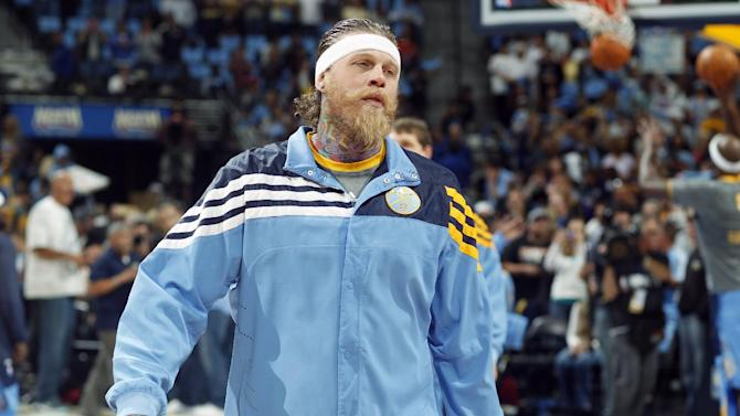 In this photo taken, Sunday, May 6, 2012, Denver Nuggets forward Chris Andersen warms up before an NBA basketball game against the Los Angeles Lakers in Denver. Douglas County, Colo., Sheriff's Department deputies searched the Larkspur, Colo., home of Andersen on Thursday, May 10, 2012, as part of an investigation being conducted by the department's Internet Crimes Against Children unit. While Douglas County Sheriff's Department officials have not arrested Andersen or issued a warrant for his arrest, the Nuggets have announced that he will not suit up for Thursday night's game against the Lakers. (AP Photo/David Zalubowski)