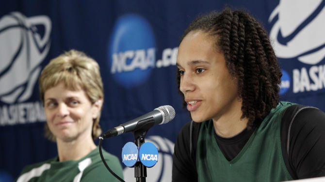 Baylor center Brittney Griner, right, responds to a question as a smiling head coach, Kim Mulkey, left, looks on during a news conference in the second round of the NCAA women's college basketball tournament, Monday, March 21, 2011, in Waco, Texas. Baylor will play West Virginia on Tuesday.  (AP Photo/Tony Gutierrez)