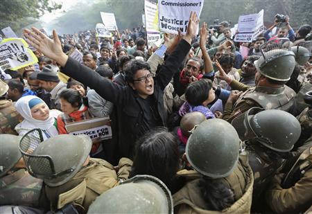 File photo of demonstrators shouting slogans as they are surrounded by the police during a protest rally in New Delhi