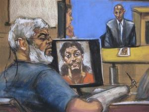 Artist's sketch of Abu Hamza al-Masri sitting while a picture of shoe bomber Richard Reid is seen on a computer screen and Saajid Badat is questioned via teleconference in Manhattan federal court in New York