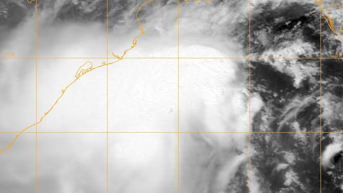 """This image provided by the Naval Research Lab shows tropical cyclone Mahasen taken Wednesday May 15, 2013 at 0600 GMT. Cyclone Mahasen is forecast to reach land early Friday and has been downgraded to a Category 1 storm, the U.N.'s Office for the Coordination of Humanitarian Affairs said Wednesday. The U.N. says although the cyclone churning through the Indian Ocean appears to have weakened it could still bring """"life-threatening"""" conditions to 8.2 million people along the coasts of India, Bangladesh and Myanmar. (AP Photo/"""