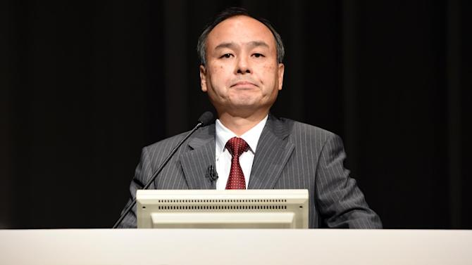 Softbank president Masayoshi Son speaks during a press conference announcing the company's financial results in Tokyo on August 8, 2014