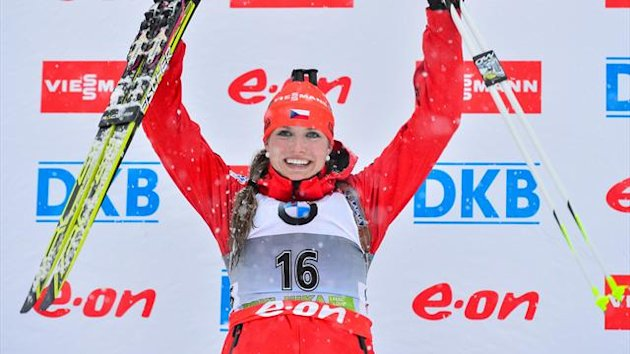 abriela Soukalova of Czech Republic celebrates on the podium after winning the 7.5 km women's sprint event at the IBU World Cup Biathlon at Pokljuka