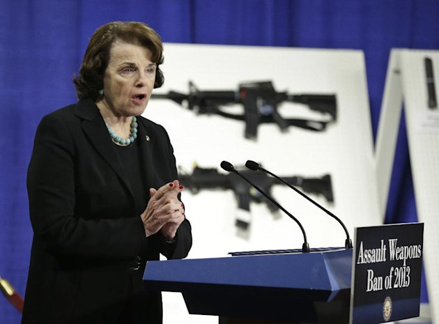 Sen. Dianne Feinstein, D-Calif. speaks during a news conference on Capitol Hill in Washington, Thursday, Jan. 24, 2013, to introduce legislation on assault weapons and high-capacity ammunition feeding devices. Congressional Democrats are reintroducing legislation to ban assault weapons but the measure faces long odds even after last month&#39;s mass school shooting in Newtown, Conn. The measure being unveiled Thursday is authored by Democratic Sen. Dianne Feinstein of California, who wrote the original assault weapons ban. That law expired in 2004 when Congress refused to renew it under pressure from the National Rifle Association. (AP Photo/Manuel Balce Ceneta)