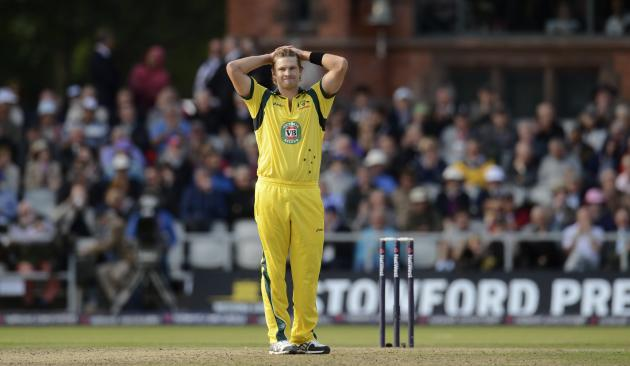 Australia's Watson looks on during the second one-day international against England at Old Trafford cricket ground in Manchester