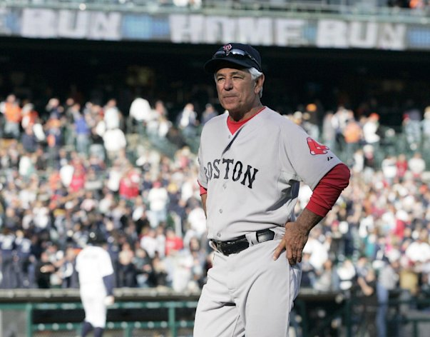 Boston Red Sox manager Bobby Valentine walks off the field after the Detroit Tigers' 13-12 win on Alex Avila's two-run home run in the 11th inning of a baseball game Sunday, April 8, 2012, in Detroit. (AP Photo/Duane Burleson)