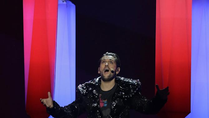 """Cezar of Romania performs the song """"It's My Life"""" during a rehearsal for the final of the Eurovision Song Contest at the Malmo Arena in Malmo, Sweden, Friday, May 17, 2013. The contest is run by European television broadcasters with the event being held in Sweden as they won the competition in 2012, the final will be held in Malmo on May 18. (AP Photo/Alastair Grant)"""