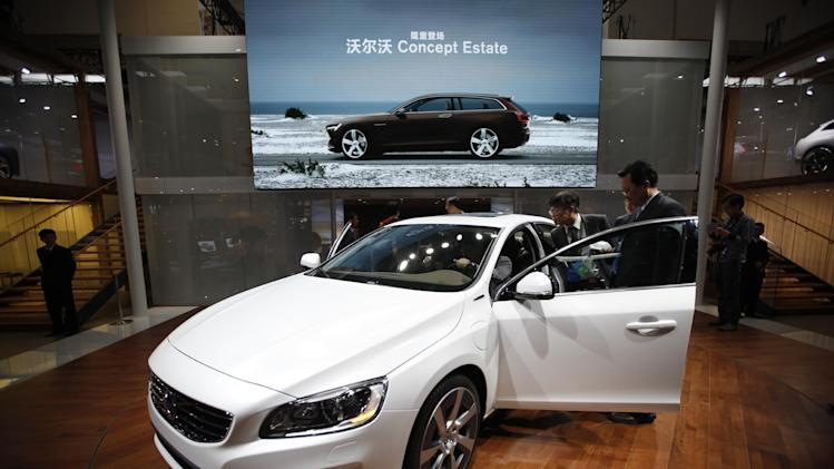 A Volvo car on display at the China International Exhibition Center new venue during the