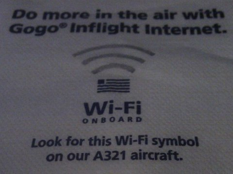 united airlines gogo wifi plane napkin