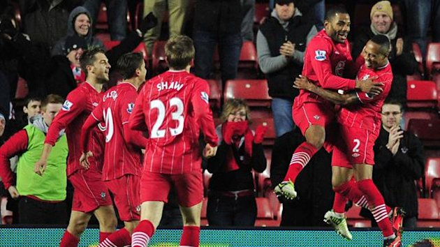 Jason Puncheon celebrates scoring with his Southampton team-mates
