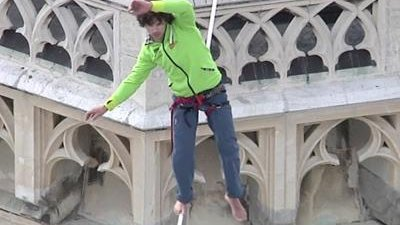 Raw: Tightrope Walk Between Cathedral Spires