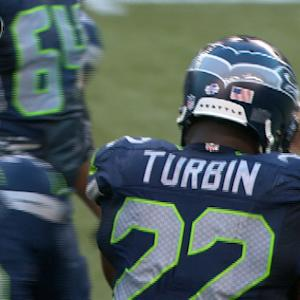 Seattle Seahawks running back Robert Turbin up the middle for 5 yards