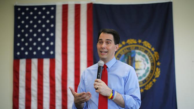 Potential Republican 2016 presidential candidate Wisconsin Governor Scott Walker speaks to local activists and elected officials in Derry
