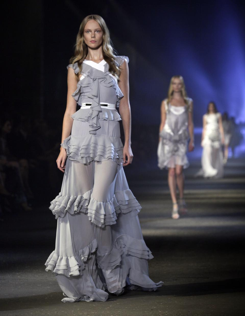 The Prabal Gurung Spring 2013 collection is modeled during Fashion Week in New York,  Saturday, Sept. 8, 2012. (AP Photo/Richard Drew)