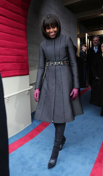 First lady Michelle Obama arrives during the presidential inauguration on the West Front of the U.S. Capitol January 21, 2013 in Washington, DC. Barack Obama was re-elected for a second term as President of the United States. (Photo by Win McNamee/Getty Images)