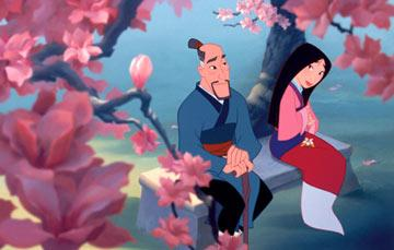 Fa Zhou (voiced by Soon-Tek Oh ) and his daughter Mulan ( Ming-Na speaking voice, Lea Salonga singing voice) in Walt Disney Pictures' Mulan