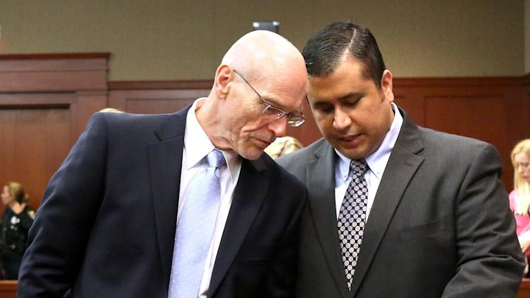 POOL - George Zimmerman, right, talks with defense attorney Don West in Seminole circuit court in Sanford, Fla., Monday, June 24, 2013. Zimmerman has been charged with second-degree murder for the 2012 shooting death of Trayvon Martin. (AP Photo/Orlando Sentinel, Joe Burbank,Pool)