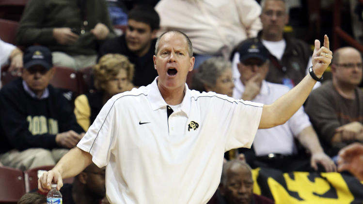 Colorado head coach Tad Boyle shouts instruction to his players during the first half against Baylor in an NCAA college basketball game at the Charleston Classic, Friday Nov. 16, 2012, in Charleston, S.C.  Colorado won 60-58. (AP Photo/Alice Keeney)