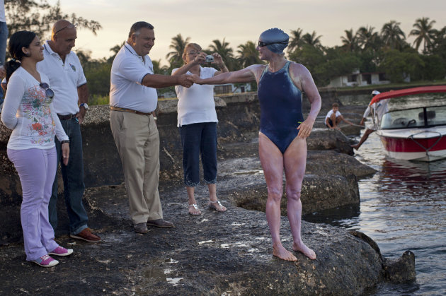 British-Australian swimmer Penny Palfrey says goodbye before beginning her bid to complete a record swim from Cuba to Florida, in Havana, Cuba, Friday, June 29, 2012. Palfrey aims to be the first woma