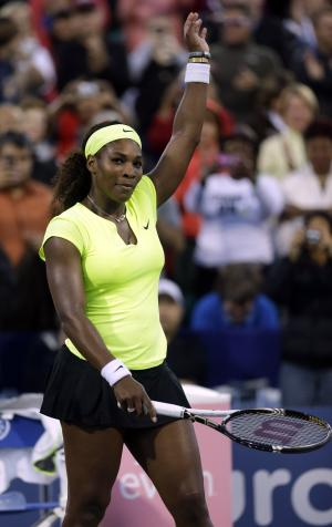 Serena Williams, of the United States, celebrates her 6-4, 6-0 win over Chanelle Scheepers, of South Africa, during a quarterfinal of the Bank of the West tennis tournament Friday, July 13, 2012, in Stanford, Calif. (AP Photo/Marcio Jose Sanchez)