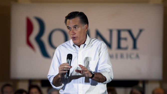 Republican presidential candidate, former Massachusetts Gov. Mitt Romney speaks to an audience during a campaign stop at a pancake breakfast in Milwaukee, Wis., Sunday, April 1, 2012. (AP Photo/Steven Senne)