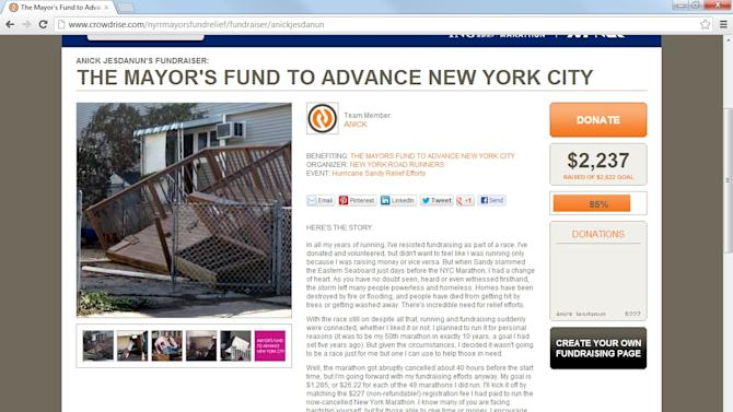 This undated image shows a screenshot of Anick Jesdanun's Crowdrise page for Sandy relief.  Crowdrise isn't just a fundraising site, but a social network for raising money. (AP Photo/