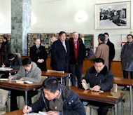 "This photo, taken by North Korea's official Korean Central News Agency on January 9, 2013, shows former New Mexico Governor Bill Richardson (centre, L) and Google executive chairman Eric Schmidt (centre, R) visiting the Grand People's Study House in Pyongyang. Richardson and Schmidt were in North Korea for a ""private trip."""