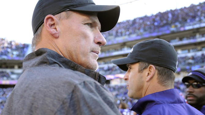 Arizona Cardinals head coach Ken Whisenhunt, left, pats Baltimore Ravens head coach John Harbaugh on the back after their NFL football game in Baltimore on Sunday, Oct. 30, 2011. The Ravens defeated the Cardinals 30-27. (AP Photo/Nick Wass)