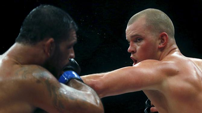 Nogueira of Brazil fights with Struve of Netherlands during their UFC match in Rio de Janeiro