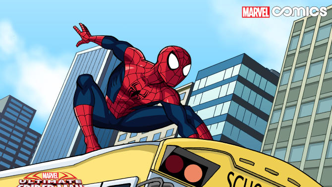 """This image released by Marvel Comics shows a scene from the first all-ages Infinite Comics series, """"Marvel Universe Ultimate Spider-Man,"""" airing Sunday mornings inside the Marvel Universe on Disney XD. (AP Photo/Marvel Comics)"""