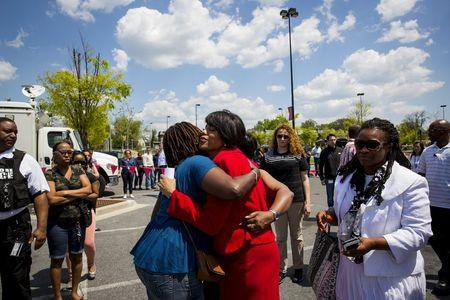 Baltimore Mayor Stephanie Rawlings-Blake greets people outside the Mondawmin Mall in Baltimore, Maryland