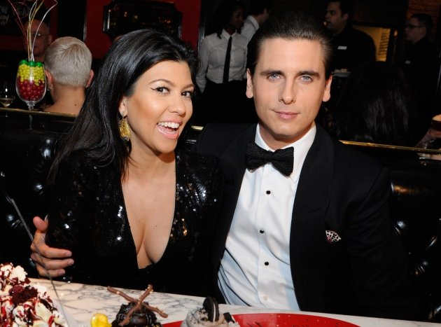 Kourtney Kardashian and Scott Disick celebrate New Year&#39;s Eve at the Sugar Factory American Brasserie at the Paris Las Vegas on December 31, 2011  -- WireImage