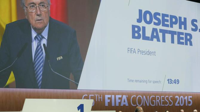 FIFA President Blatter makes a speech before the election process at the 65th FIFA Congress in Zurich