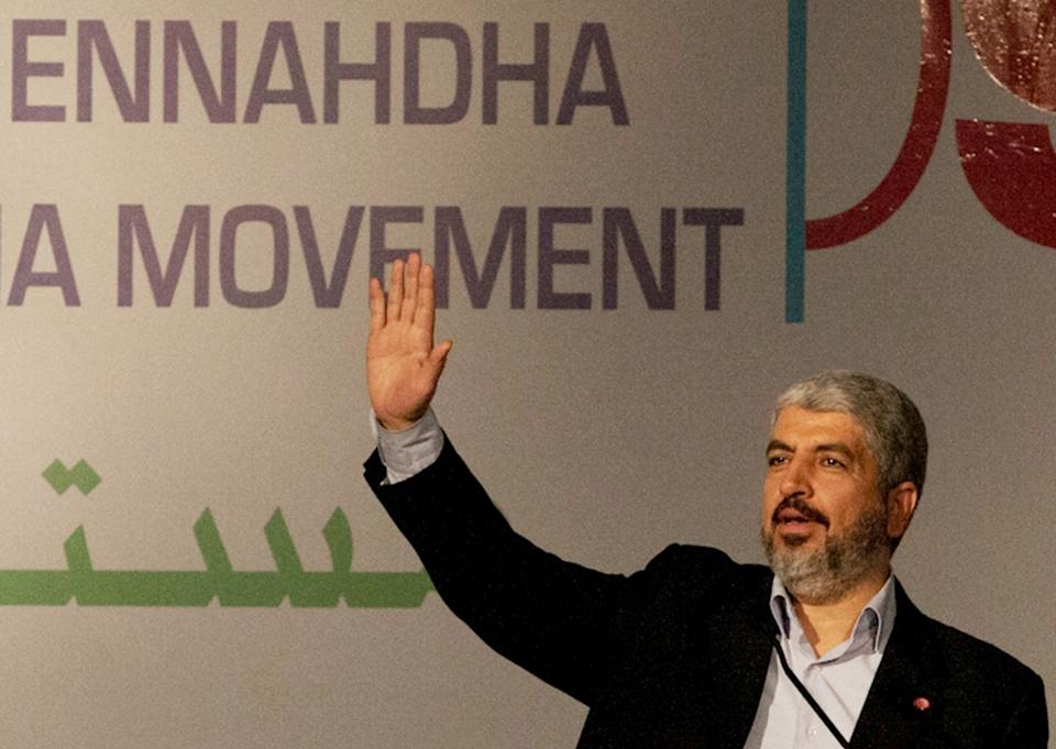Hamas leader Khaled Mashaal delivers his speech at the Islamist Ennahda party congress in Tunis, Thursday, July, 12, 2012. The moderate Islamist Ennahda party was elected after a transition period following the January 2011 ouster of Zine El Abidine Ben Ali. (AP Photo/Amine Landoulsi)