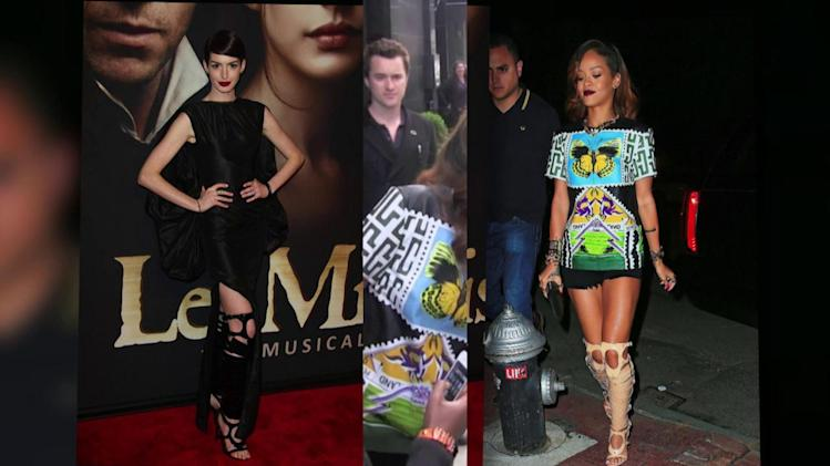 Rihanna Wears the Same Bondage Sandals as Anne Hathaway