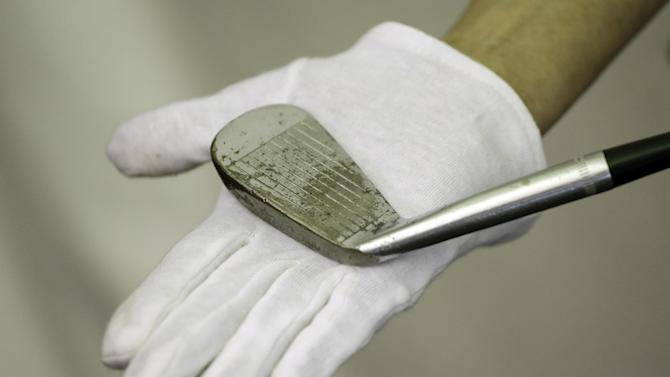 Ben Hogan's 1-iron is shown at the U.S. Open golf tournament at Merion Golf Club, Wednesday, June 12, 2013, in Ardmore, Pa. Good luck finding a player who even carries a 1-iron. And the shot Hogan hit in 1950 at Merion, which the USGA estimates to be 213 yards, is no longer a 1-iron. (AP Photo/Darron Cummings)
