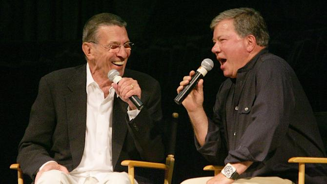 William Shatner (R) and Leonard Nimoy (L), the actors who portrayed Capt James T. Kirk and Mr Spock respectively in the original Star Trek, recall memories of filming the show at the Star Trek convention in Las Vegas, Nevada, on August 19, 2006