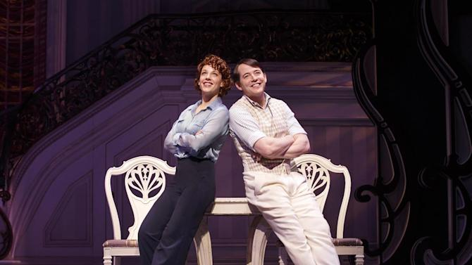 "This theater image released by Boneau/Bryan-Brown shows Jessie Mueller, left, and Matthew Broderick during a performance of ""Nice Work if You Can Get It,"" in New York. Producers announced Wednesday, April 24, 2013 that the production will play its final performance on Broadway on June 15, 2013. (AP Photo/Boneau/Bryan-Brown, Joan Marcus)"
