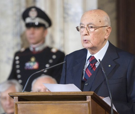 "Italy's President Giorgio Napolitano urged more austerity and called for bickering politicians to unite and drag the country from a ""swamp"" of public debt, the start of a decisive week on the political scene."