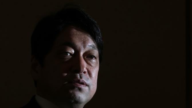 Japan's Defence Minister Itsunori Onodera speaks during an interview with Reuters in Tokyo