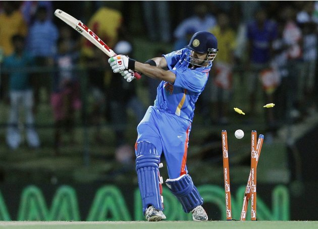 India's Gambhir is bowled out by Sri Lanka's Eranga during their Twenty20 match in Pallekele