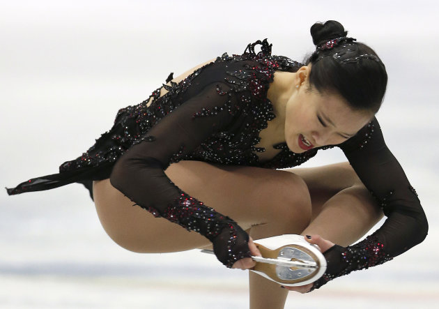 Christina Gao of the United States performs during the women's free skating event at the ISU Four Continents Figure Skating Championships in Osaka, Japan, Sunday, Feb. 10, 2013. (AP Photo/Shizuo Kamba