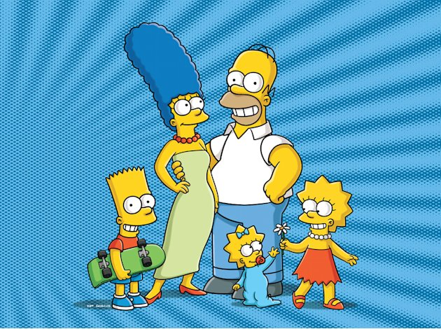 "Bart, Marge, Homer, Maggie and Lisa Simpson on  ""The Simpsons."""